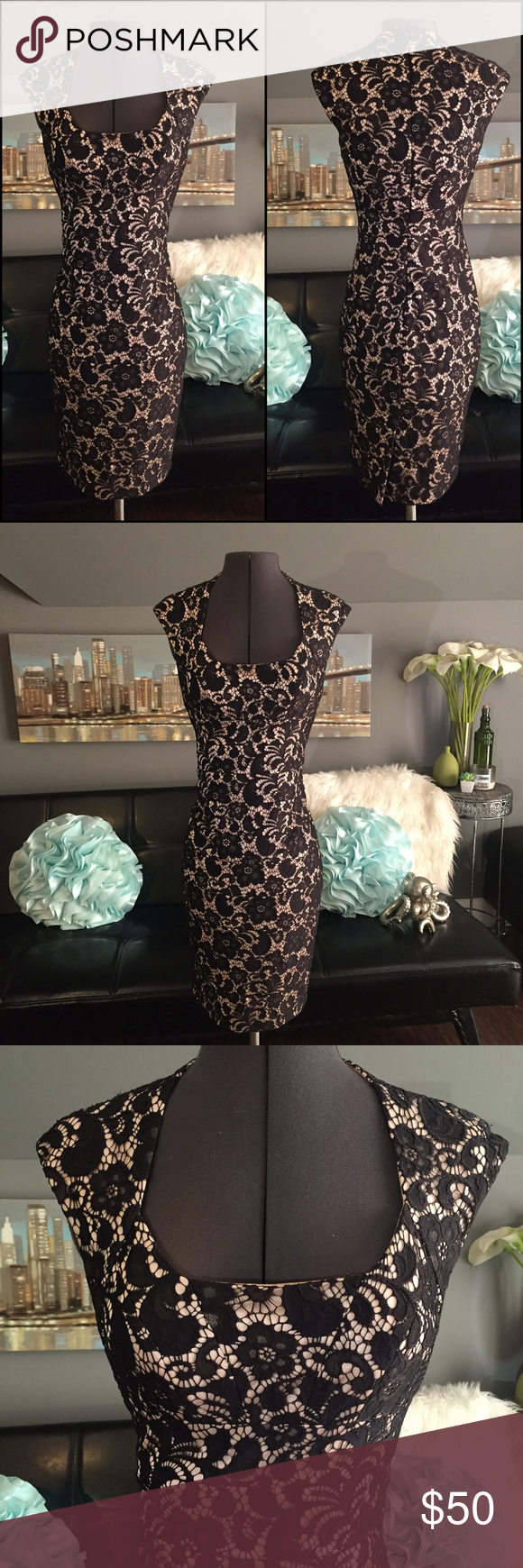 Jax Black Lace Over Nude Classy Cocktail Dress   Classy cocktail ...