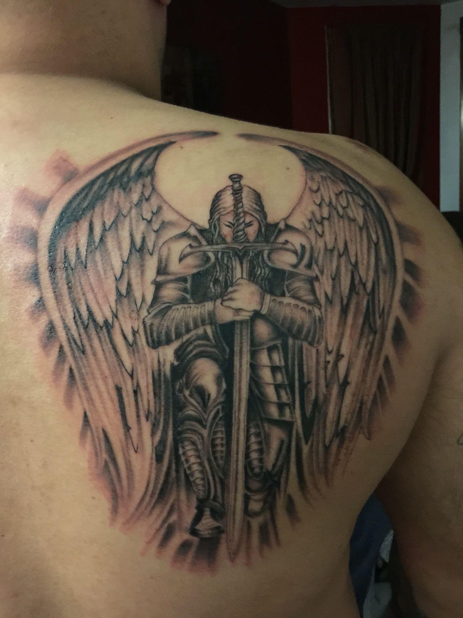 Male Guardian Angel Back Neck Tattoo Http Viraltattoo Net Male Guardian Angel Back Neck Tattoo Ht In 2020 Guardian Angel Tattoo Angel Tattoo Men Angel Tattoo Designs