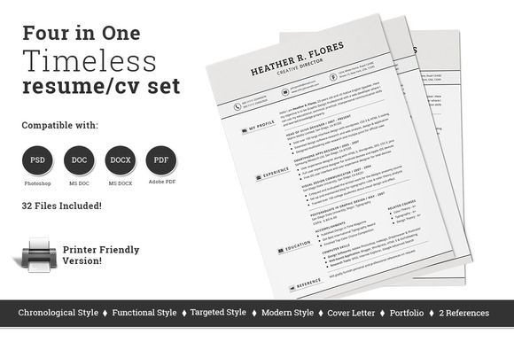 nice 4 in 1 Timeless Resume CV Set CreativeWork247 - Fonts, Graphics
