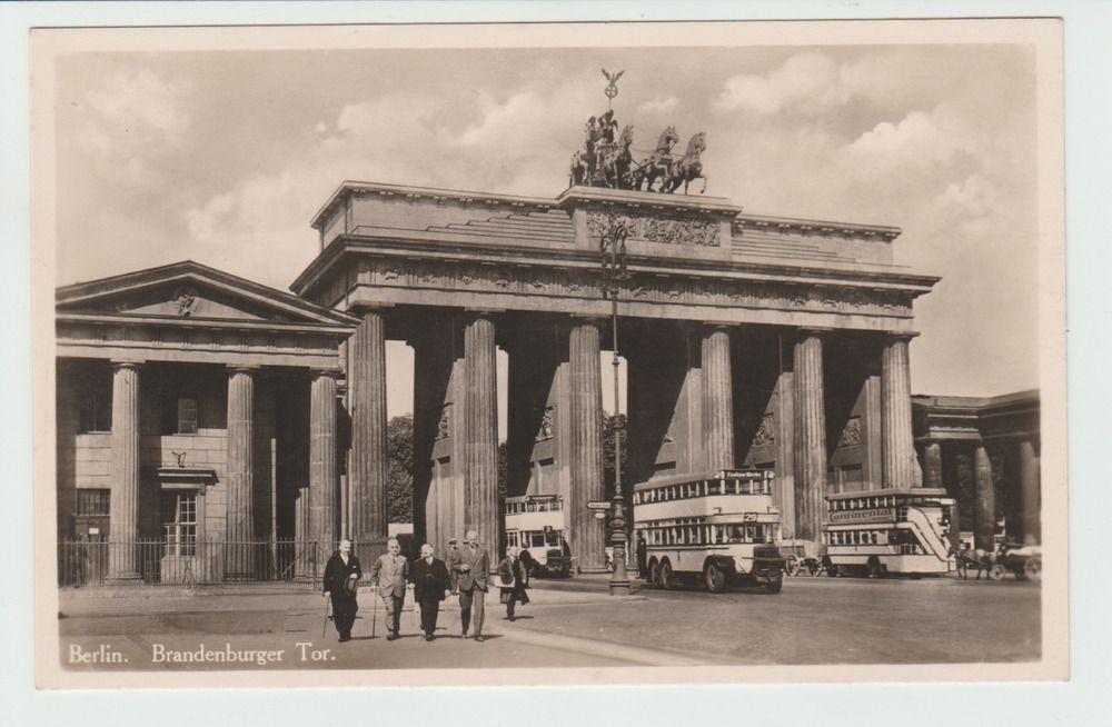 Postcard Brandenburg Gate Brandenburger Tor Berlin Trams Busses 1920s 30s Brandenburg Gate Around The Worlds Postcard