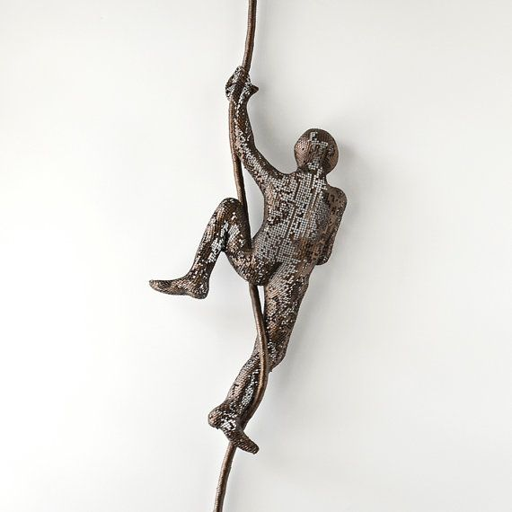 Climbing Man Wall Art contemporary metal wall art, climbing man on rope, rock climber