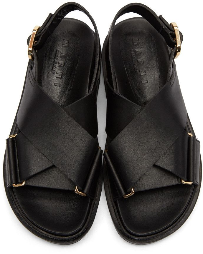 666ac637b13 Marni - Black Fussbet Crossover Sandals