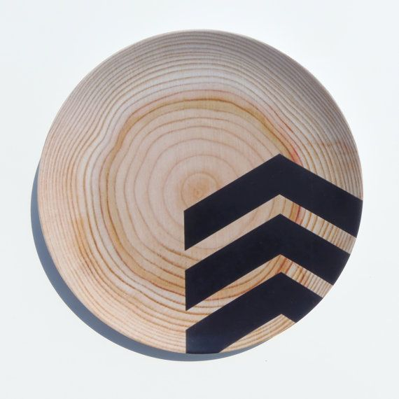 Modern Wood Simple Chevron 10\  Melamine Plate ... & Modern Wood Simple Chevron 10\