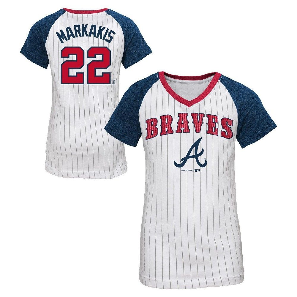 premium selection 675b3 5b938 Atlanta Braves Girls' Nick Markakis Pinstripe T-Shirt Jersey ...