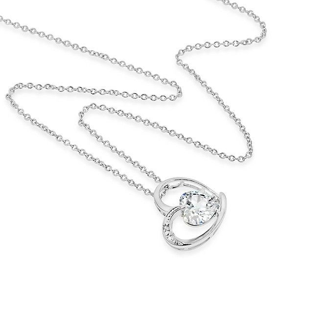 """Crystalux Collection: Platinum-Plated Bronze Cubic Zirconia Heart Pendant with 18"""" Chain - Fashion Pendants & Necklaces - Necklaces"""