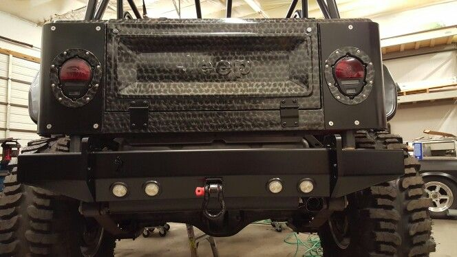 Military Lights And Cj Tailgate Conversion On Jeep Yj Rock Bumper