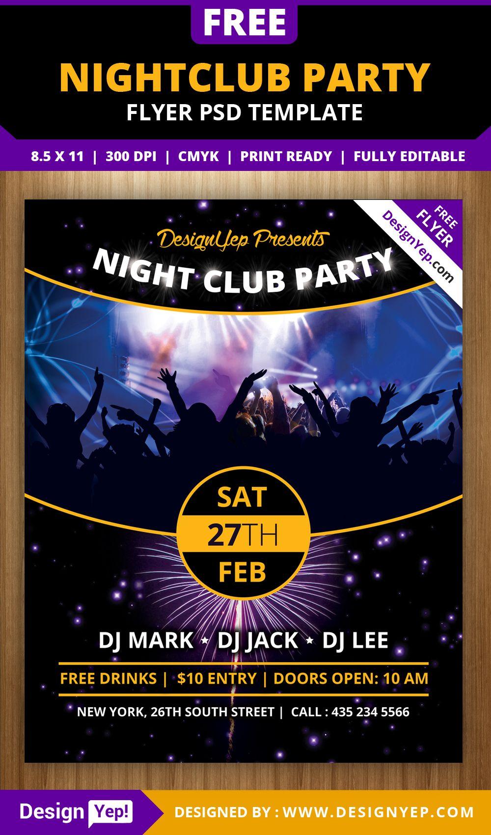 free nightclub party flyer psd template 5624 desingyep free flyers