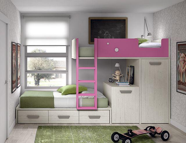 Lit superposé pour enfant avec bureau et armoire amovibles
