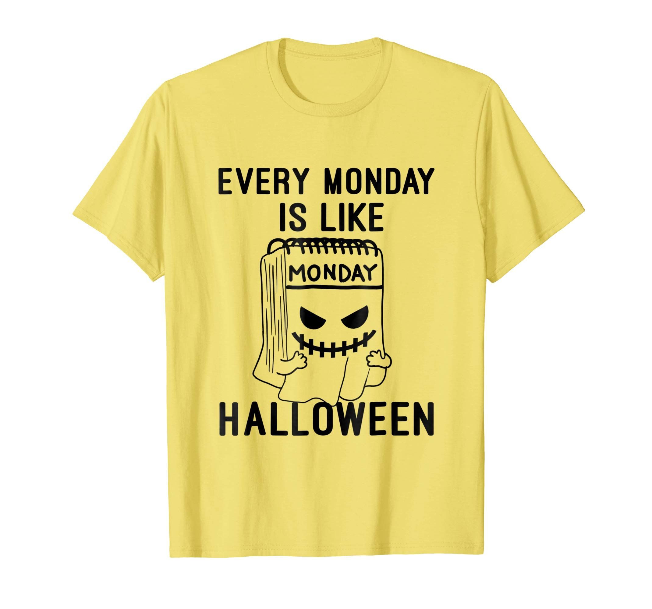 ad747707 Hate Monday Morning Calendar Halloween Tee Ghost Funny Gift   Happy ...