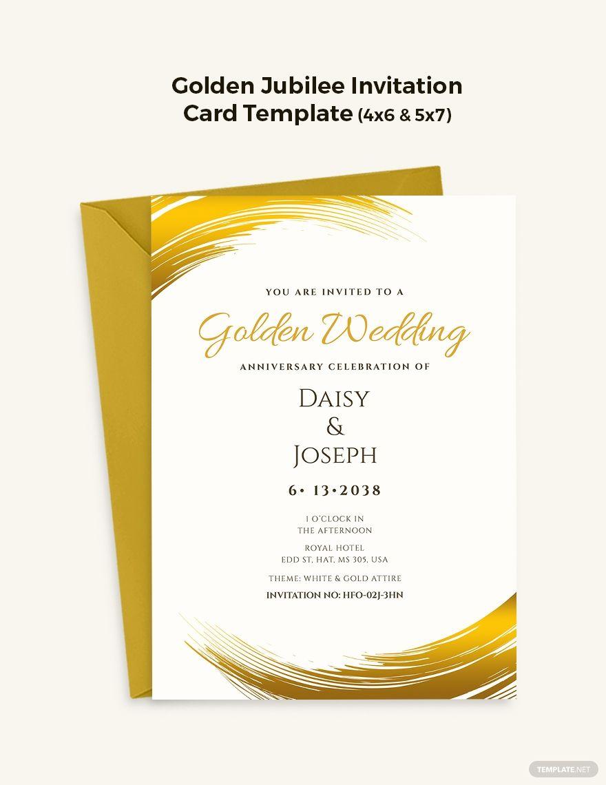 Golden Jubilee Celebration Invitation Card Template Free Pdf Word Psd Apple Pages Illustrator Publisher Jubilee Invitation Invitation Cards Golden Jubilee