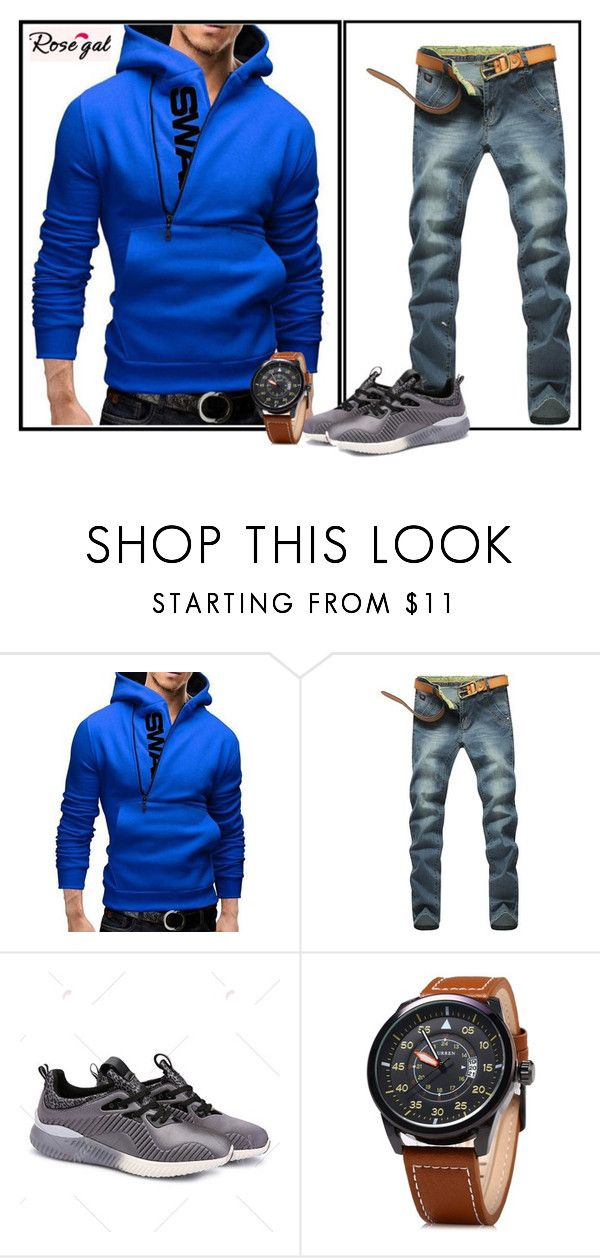 """""""Blue sport outfit :)"""" by minka-989 ❤ liked on Polyvore featuring men's fashion, menswear and rosegal"""
