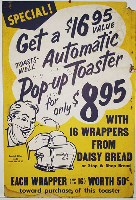 Vintage Poster Toaster Stop Shop Supermarket Advertisement 1950s Vintage Typography Poster Stop And Shop Supermarket Vintage Typography Design