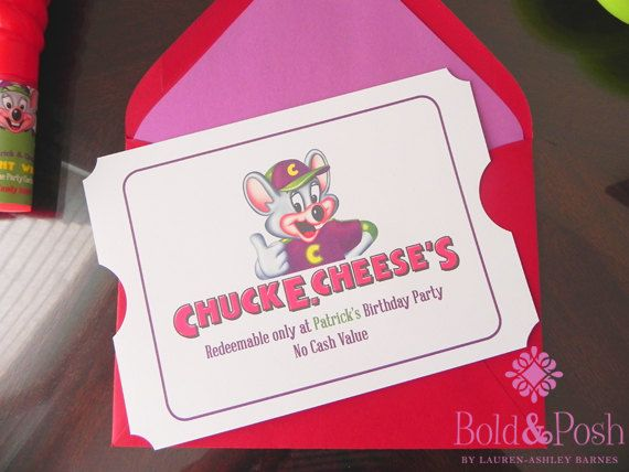 Perfect invitation for a Chuck E Cheese party The design is in a