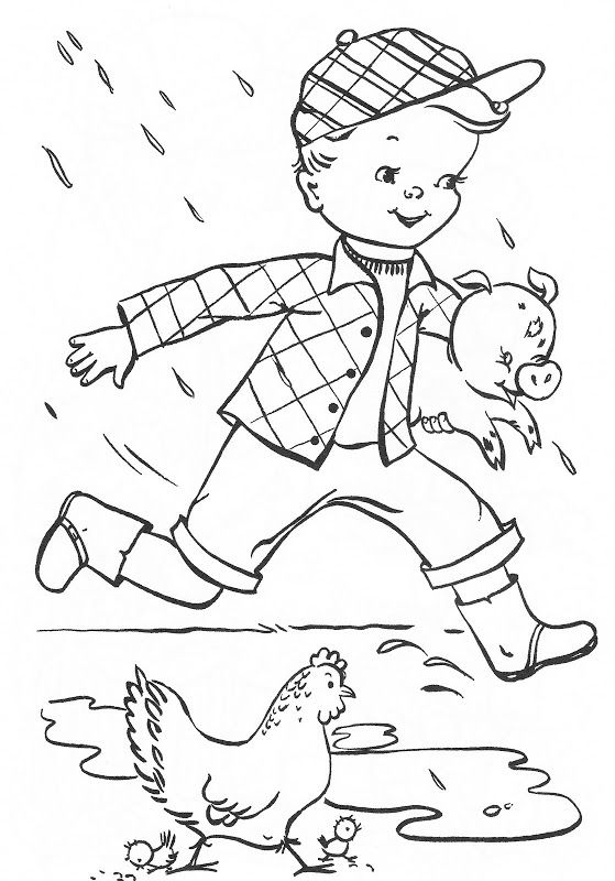 vintage coloring pages of children - photo#20
