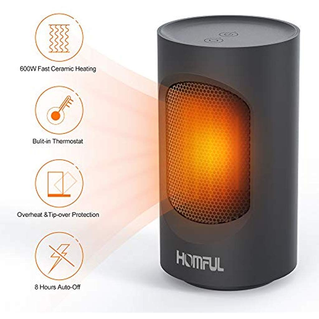 Personal Fan Heater 600w Ceramic Space Heaters Electric With Natural Air Cooler Silent For Home And Offic Space Heater Ceramic Heater Portable Electric Heaters