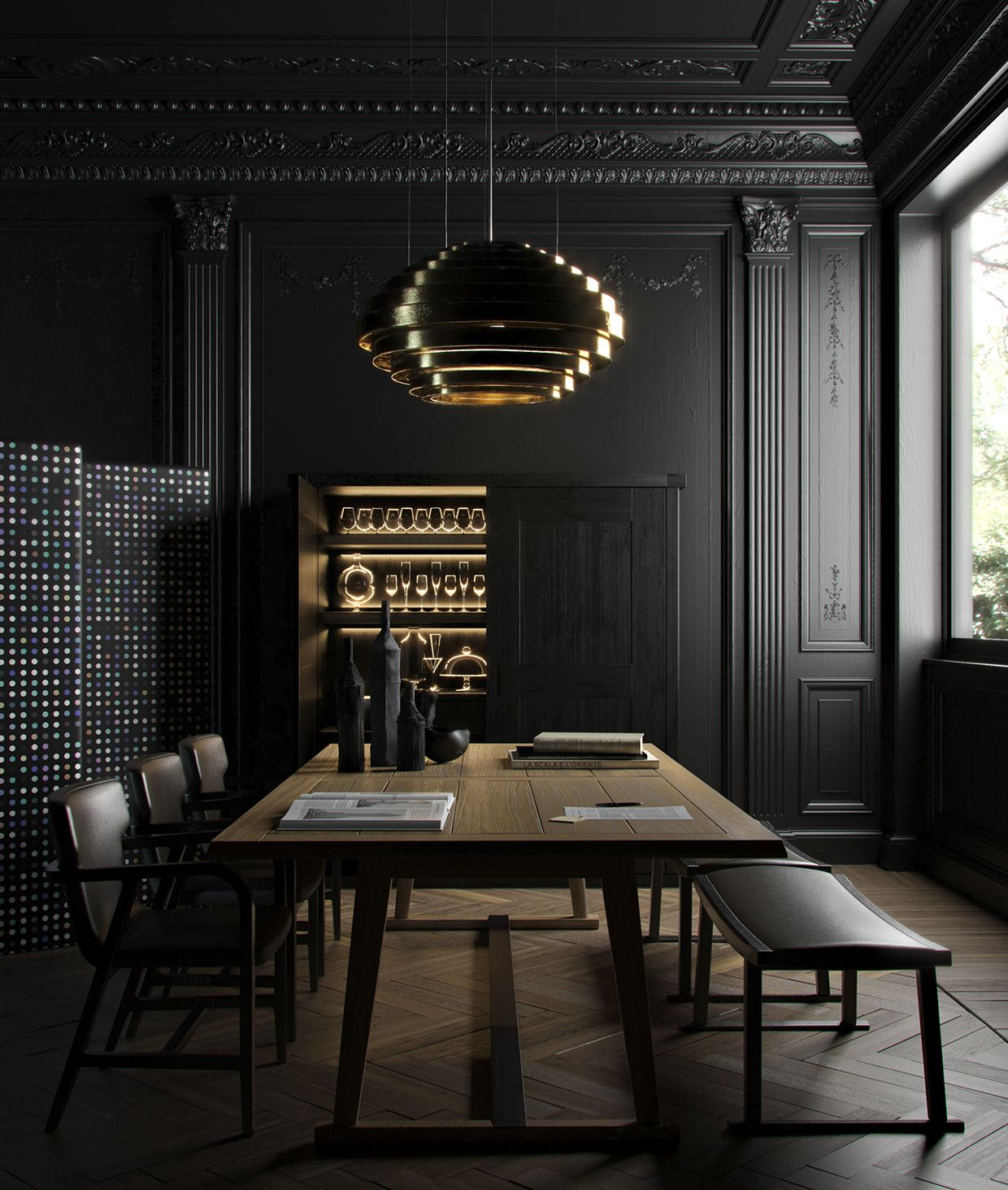 "Dark Dining Room: Winner Render In ""Render It Black"" Contest By DESIGN"