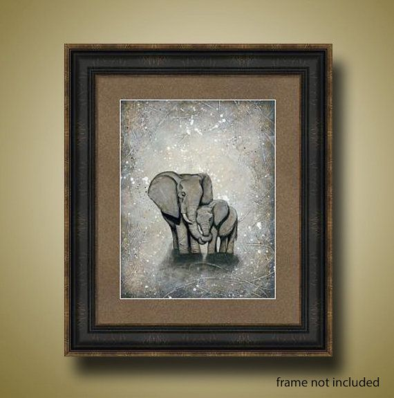 PRINT or GICLEE Reproduction  Elephant Mom and door BrittsFineArt