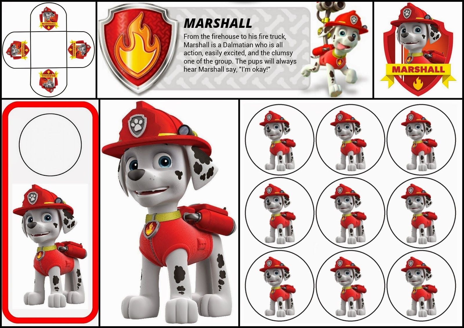 Paw Patrol: Free Printable Mini Kit of Marshall. | Cumple ...
