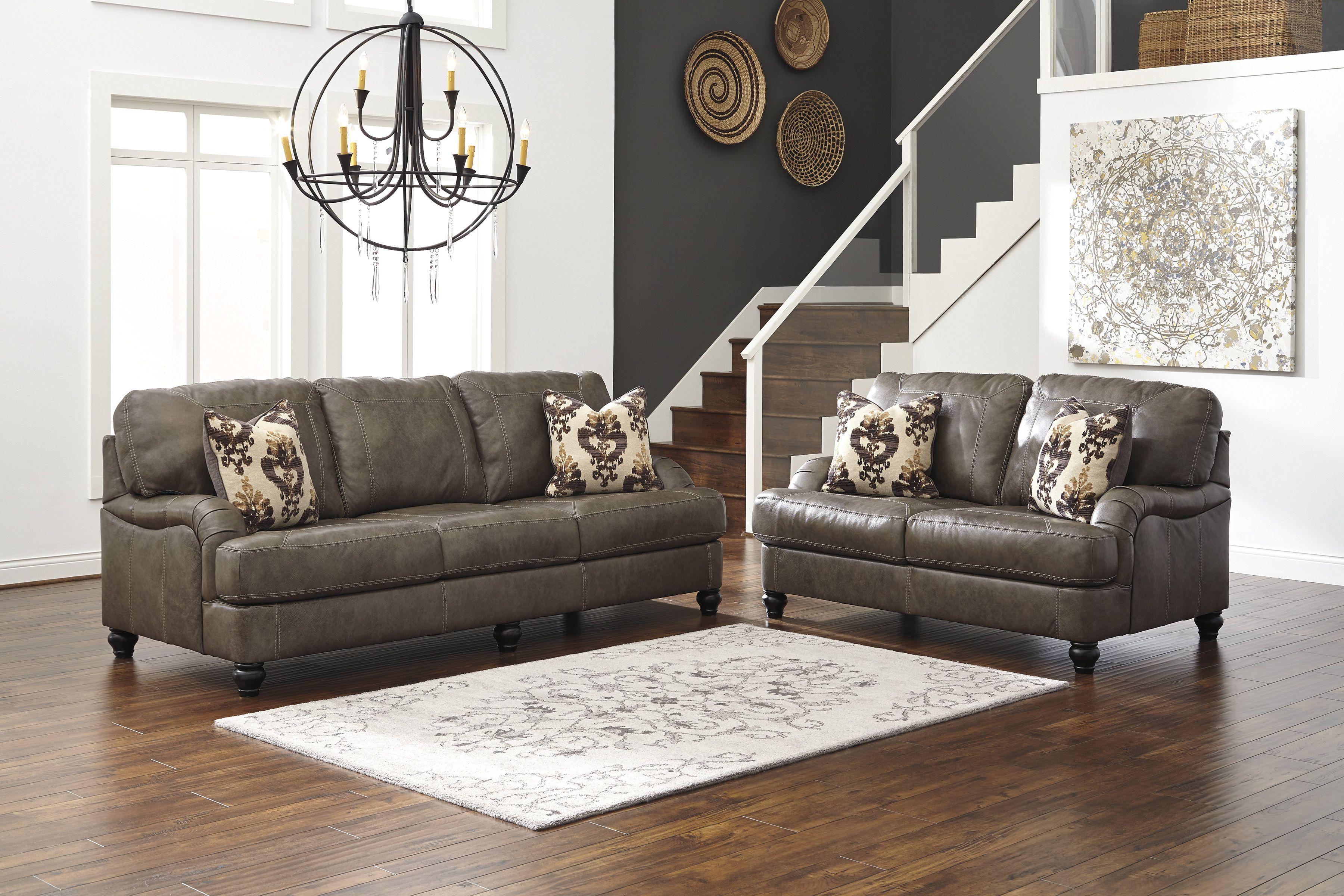 Genuine Leather Ashley Kannerdy Quarry Sofa Set In Houston
