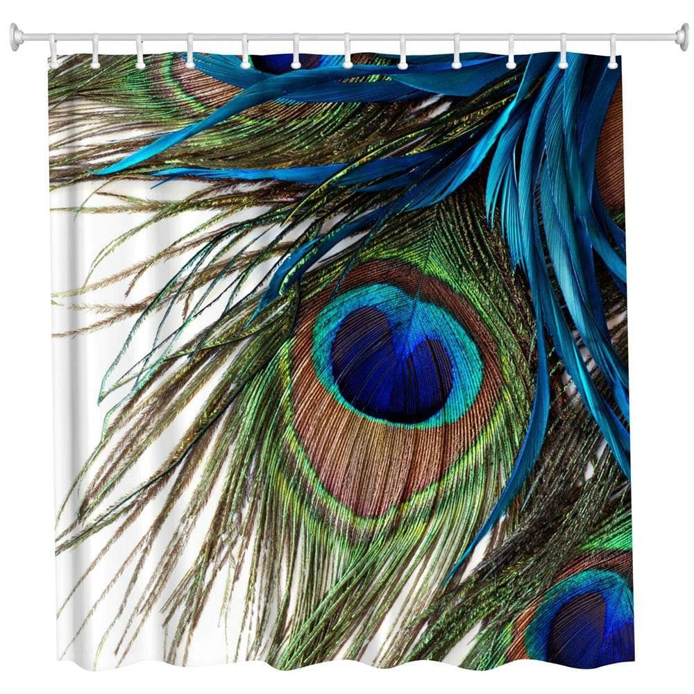 Peacock Feather Polyester Shower Curtain Bathroom Curtain High Definition 3d Printing Water Proof Feather Wallpaper Peacock Feathers Peacock Feather Art