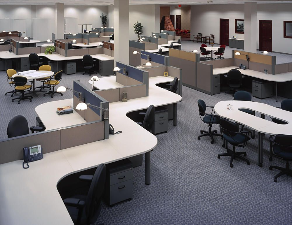 Modern open office design google search industrial for Office desk layout ideas