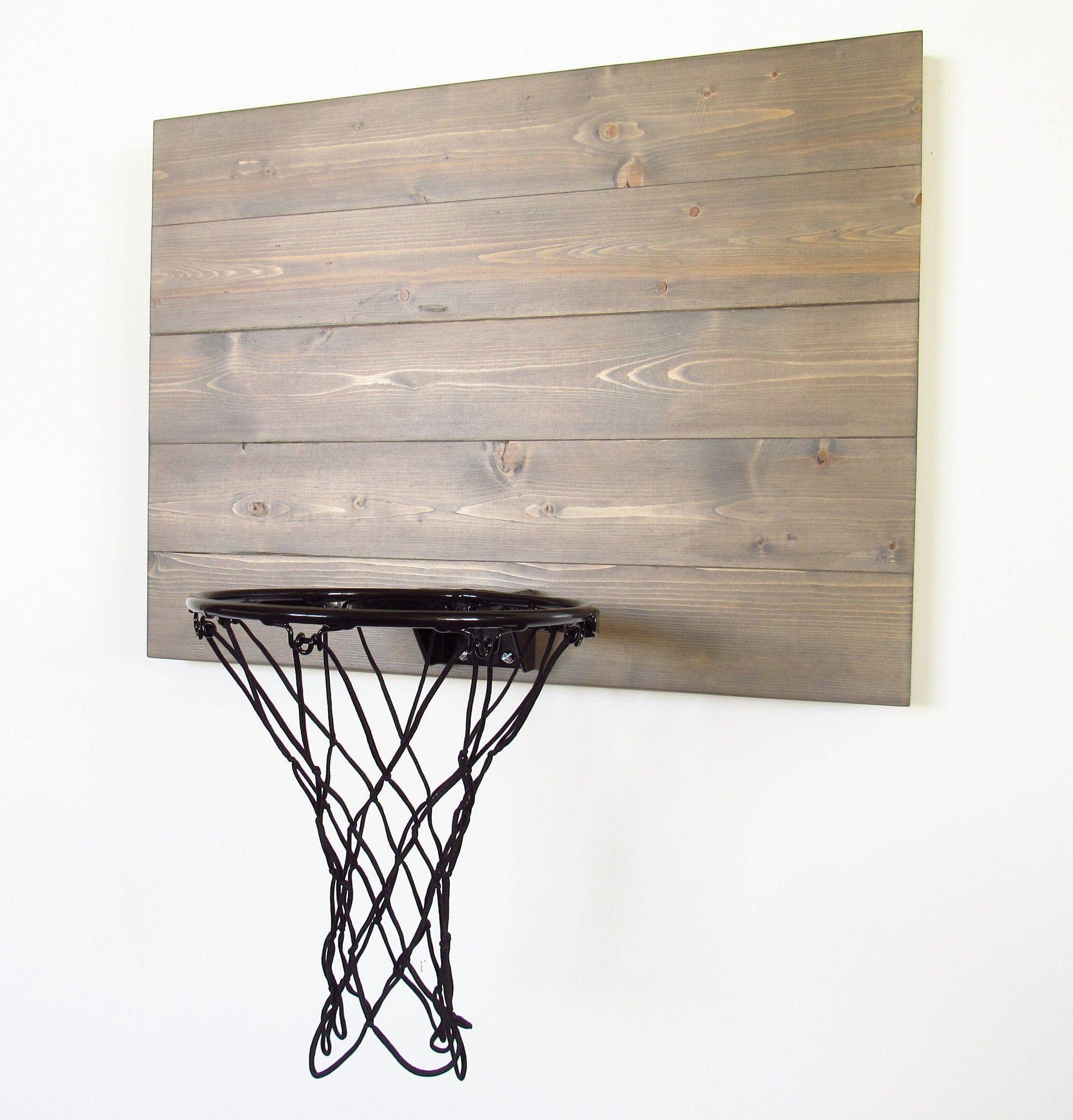 Wood Basketball Hoop, Rustic Weathered Gray Basketball