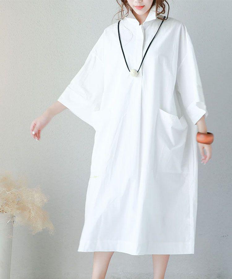 ce5e83b6283 Korean Style Front Pockets Oversized Shirt Dress Letter Embroidered White  Dress  white  embroidered  oversize  loose  shirt  dress  long  blouse   woman ...