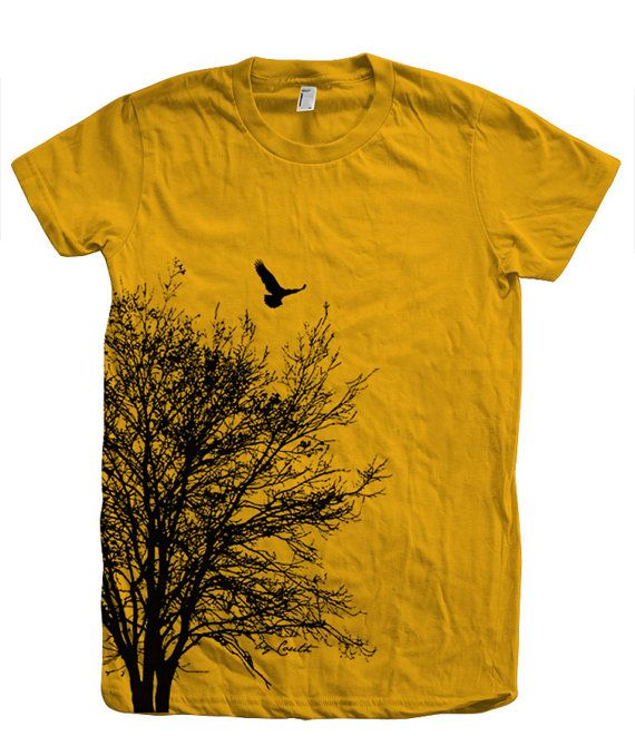 37643c01250b9 Tree T shirt Women Crew Neck Hand Screen Print American Apparel ...