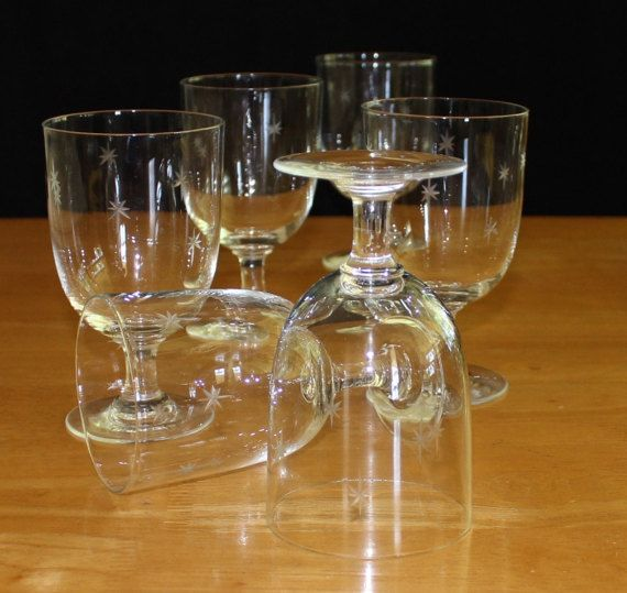 Vintage Set of 6, Quartex Star Dust, Water Goblets, Atomic Glasses by cocoandcoffeevintage