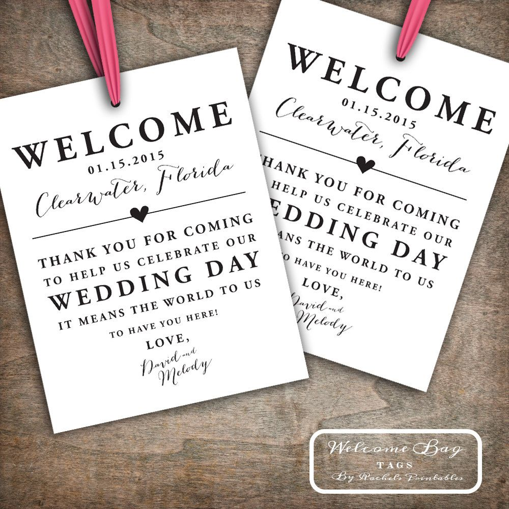 Custom Printable Wedding Welcome Bag Tags, Labels, Hotel