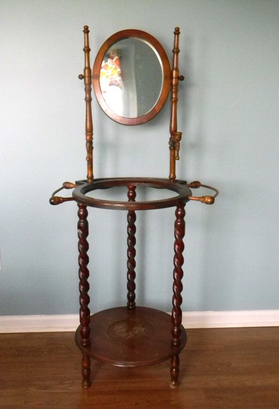 Vintage Wash Stand Wooden with Mirror Candle Holders Towel ...