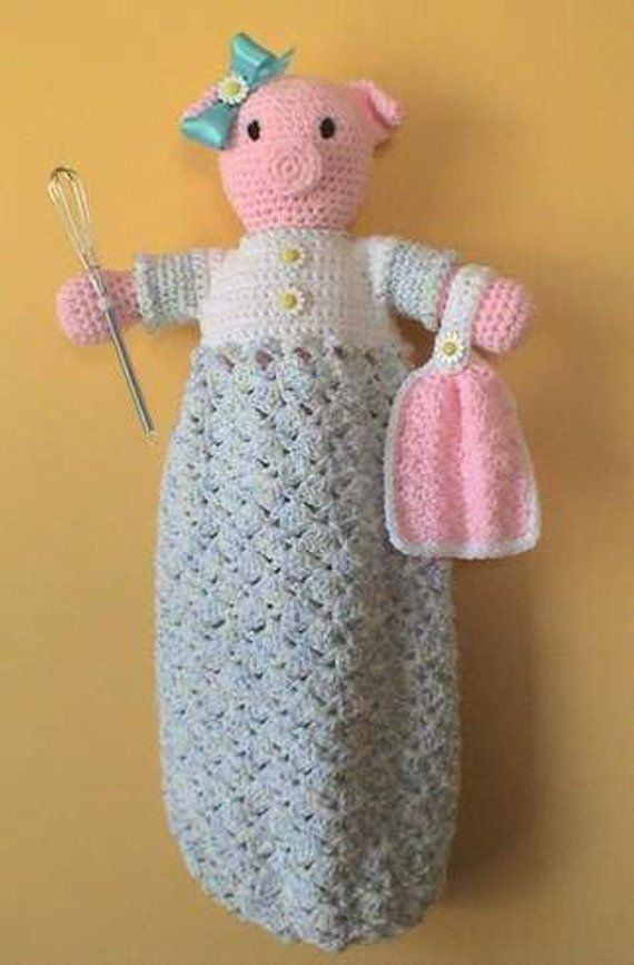 Pig Crochet Pattern Bag Holder Home Decor Pretty Piggy Products