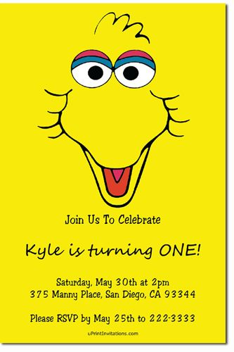 Sesame Street Big Bird Birthday Party Invitations Get these