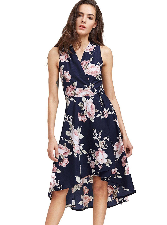 327ed16bccc SheIn Women s Vintage Floral Print V Neck Dip Hem Wrap Dress at Amazon  Women s Clothing store