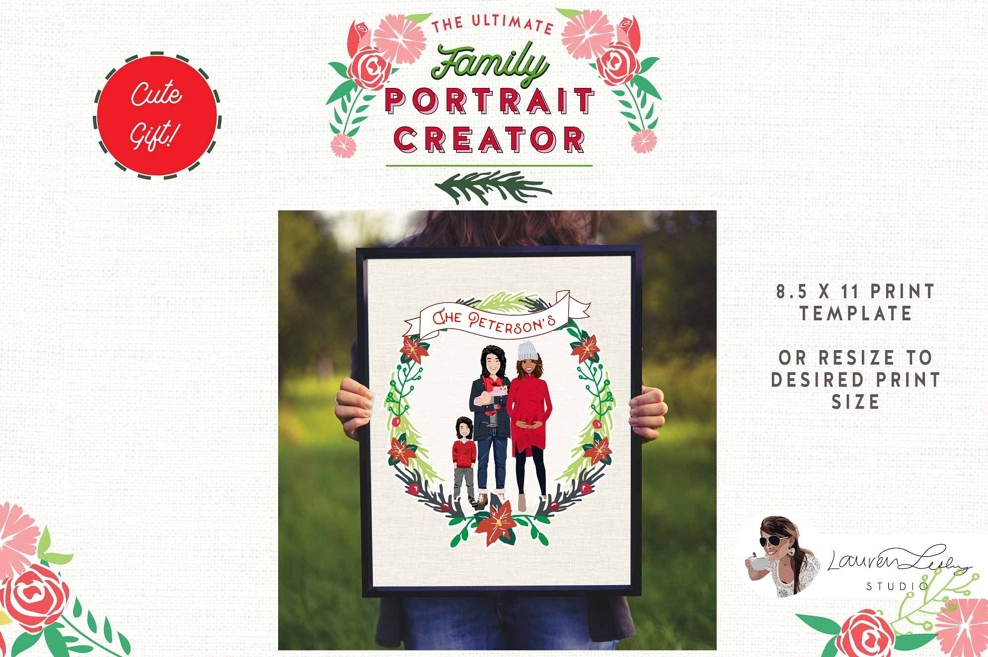 Christmas Family Portrait Creator Family Christmas Holiday Illustrations Family Portraits