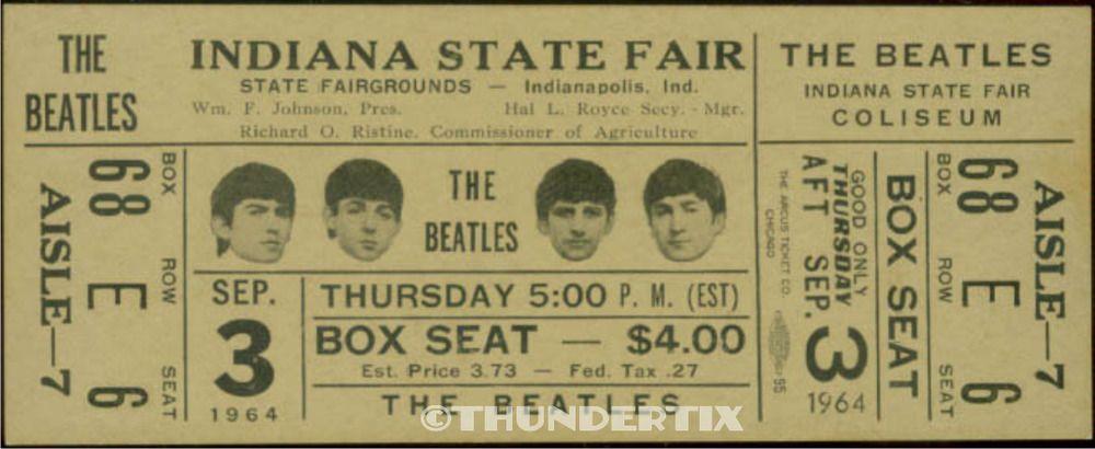 fair   laminated 1  BEATLES VINTAGE UNUSED FULL CONCERT TICKET 1964  Indiana st