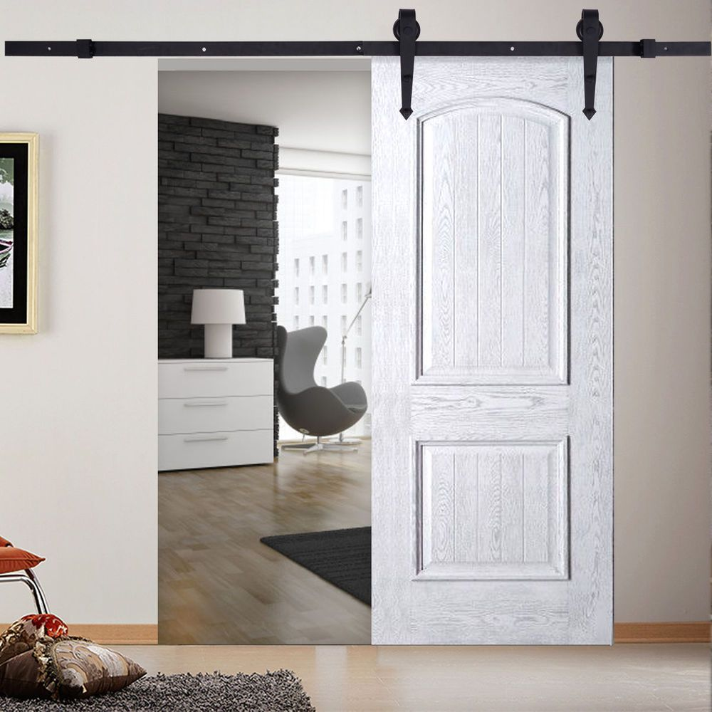 6 Ft Black Carbon Steel Sliding Barn Door Hardware Track Rail Kit Wall Mount Internal Sliding Doors Wood Doors Interior Doors Interior