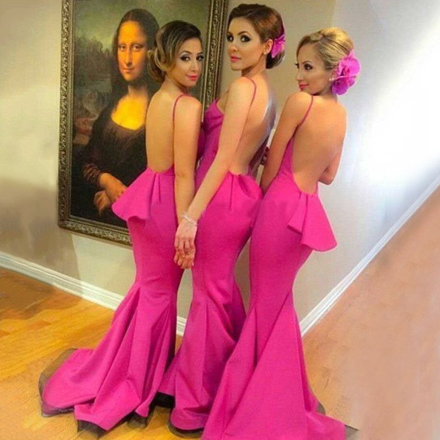 Sexy Backless Bridesmaid Dress with Ruffles, Hot Pink Mermaid Bridesmaid Dress with Sweep Train, Halter Bridesmaid Dresses, #01012785 · VanessaWu · Online Store Powered by Storenvy
