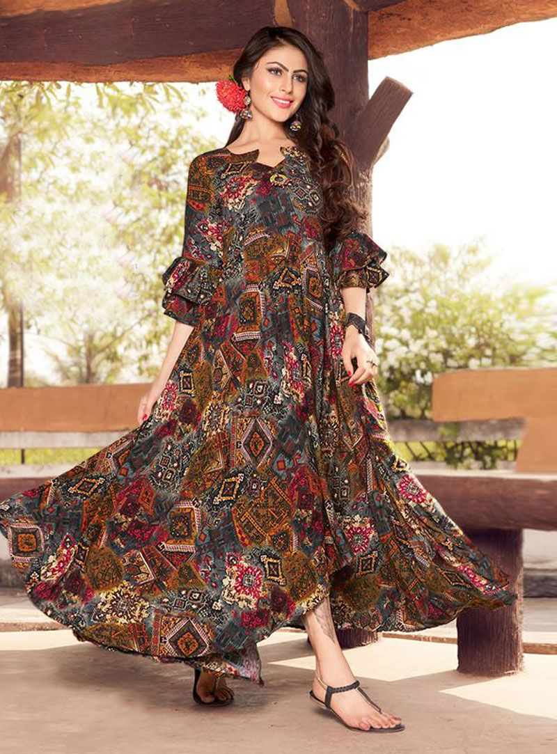 97d8bf2b2 Shop Gray Rayon Readymade Printed Gown 143267 online at best price from  vast collection of designer kurti at Indianclothstore.com.