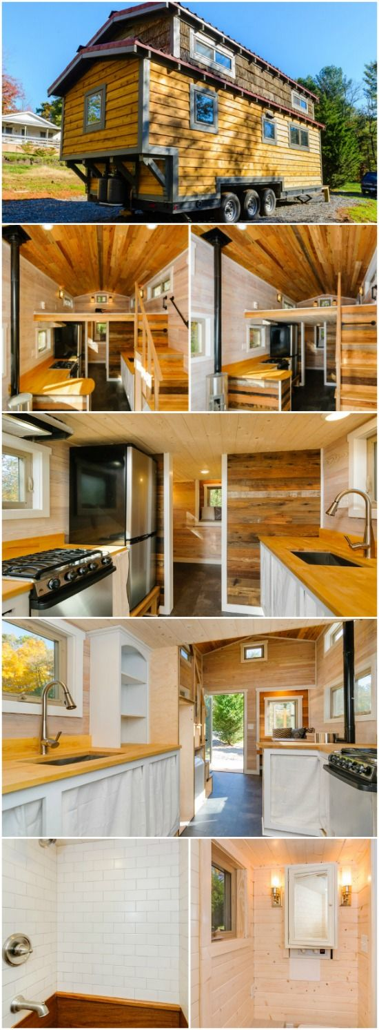 MH by Wishbone Tiny Homes Demands Attention Inside and Out - The MH by Wishbone Tiny Homes is a phenomenal-looking tiny house built on a 24' trailer. The exterior of the home is unique with a mix of cedar and poplar siding and a red metal roof. It's easy to see that this is a home that's set apart from your cookie-cutter tiny houses!