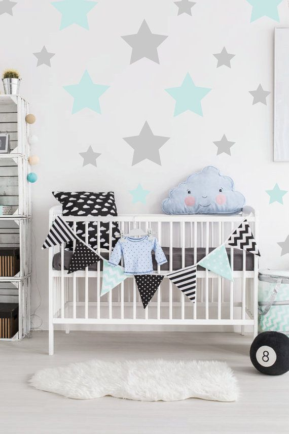 Mixed Stars Wall Decal / Two Colours Stars Wall Decor / Stars