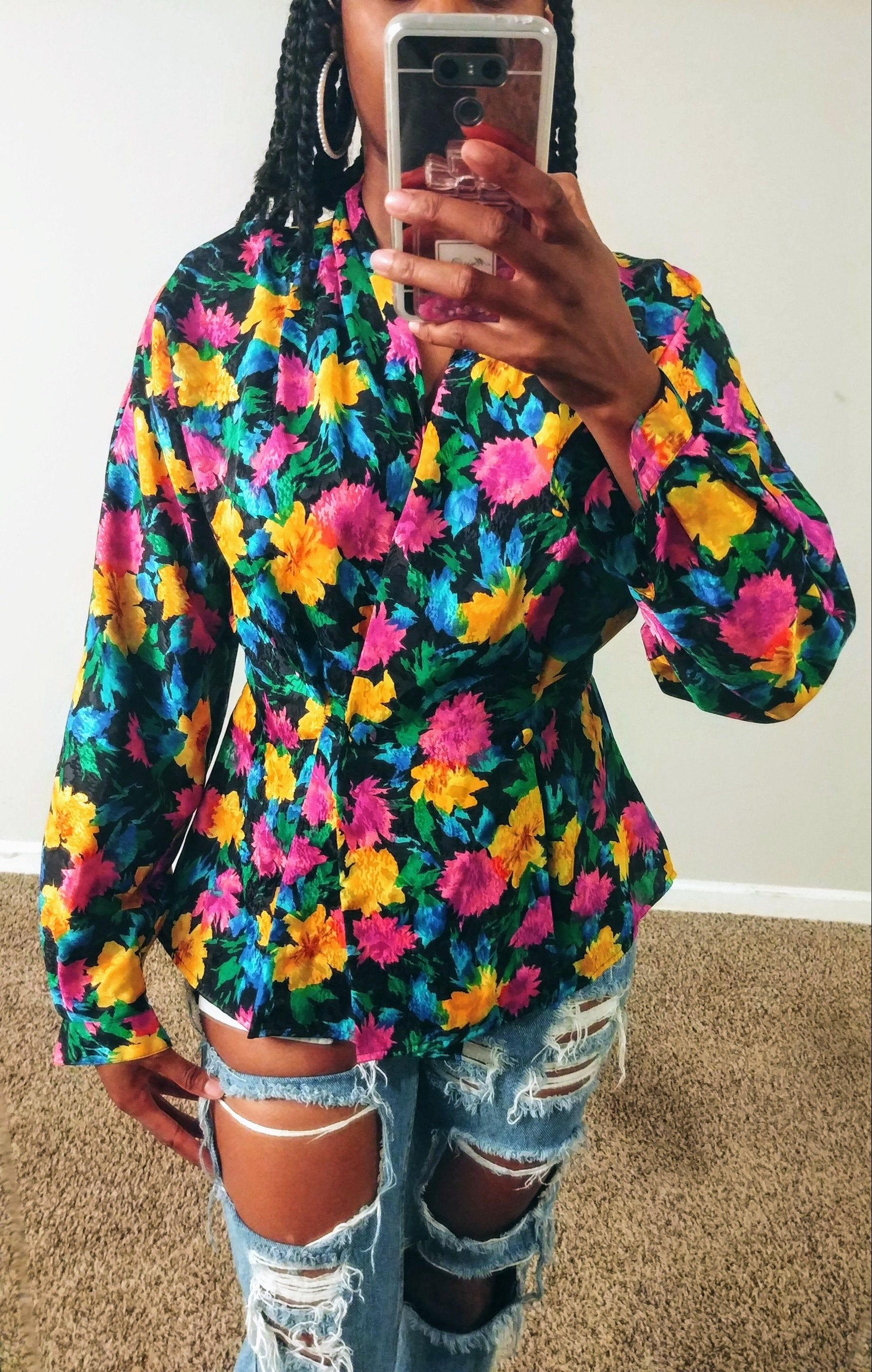 Vintage 90s Multicolored Floral Print Blouse with Solid Blue Long Sleeve Button Up Shirt
