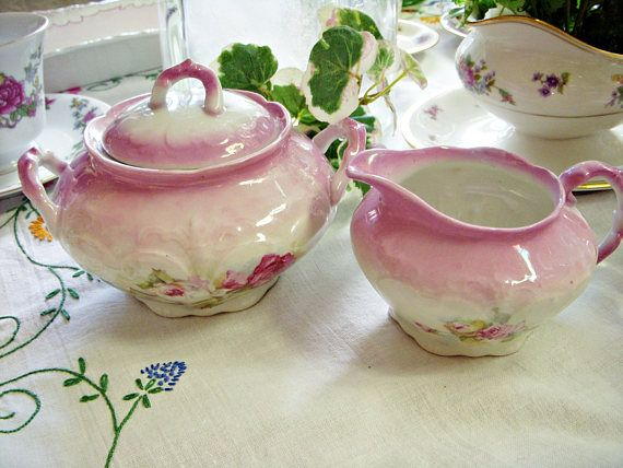 Shabby Pink Roses CREAMER And SUGAR BOWL With Lid