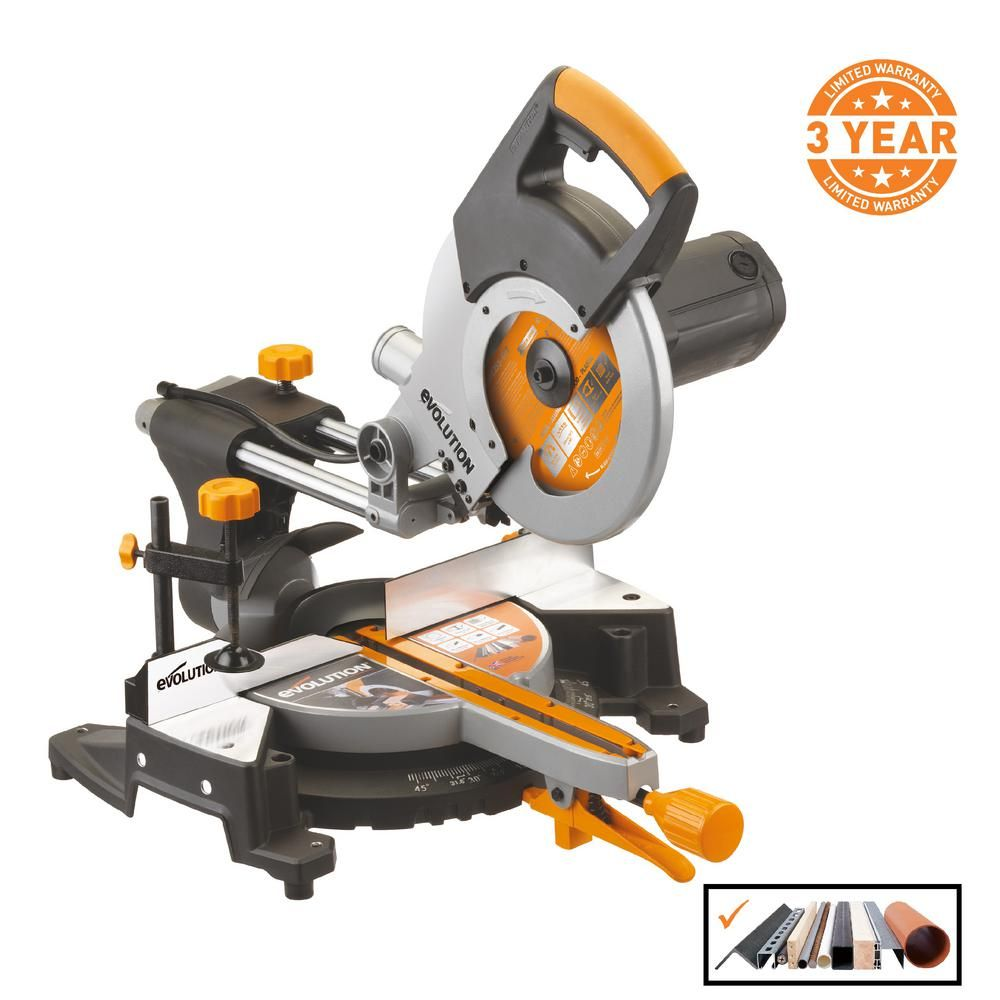 Evolution Power Tools 15 Amp 10 In Multi Purpose Compound Sliding Miter Saw Rage3 The Home Depot Sliding Mitre Saw Sliding Compound Miter Saw Miter Saw