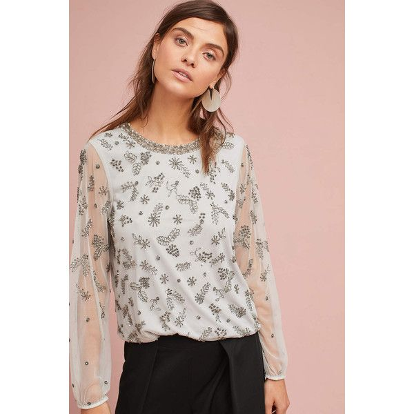 95247a726e8 Ranna Gill Argent Embellished Blouse ( 218) ❤ liked on Polyvore featuring  tops