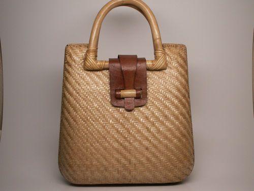Vintage Straw Leather Bag