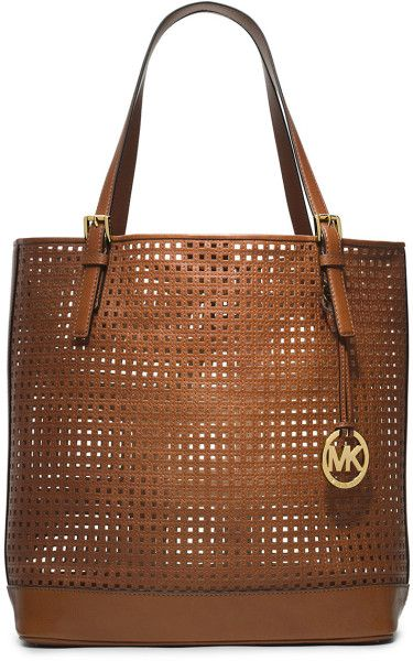 c8cca4a05276 Michael By Michael Kors Bridget Perforated Leather Large Tote Bag in Brown  | Lyst