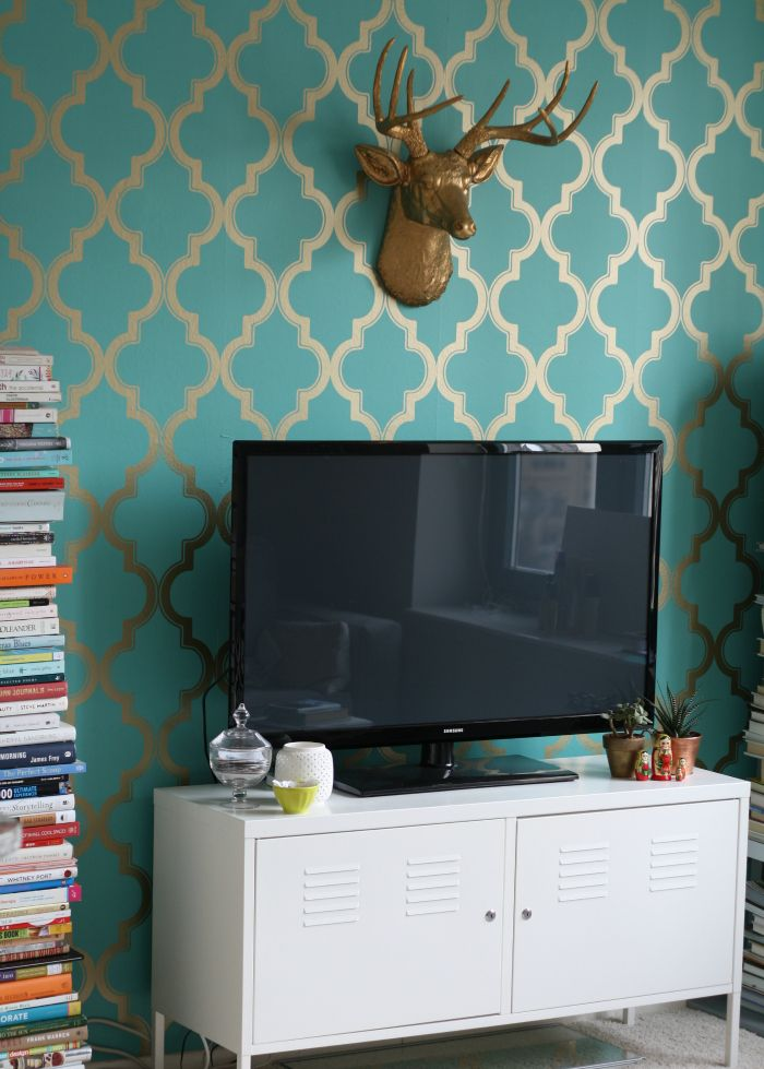 DIY Removable Statement Wallpaper Available At Target And Urban Outfitters One Wall Powder Room