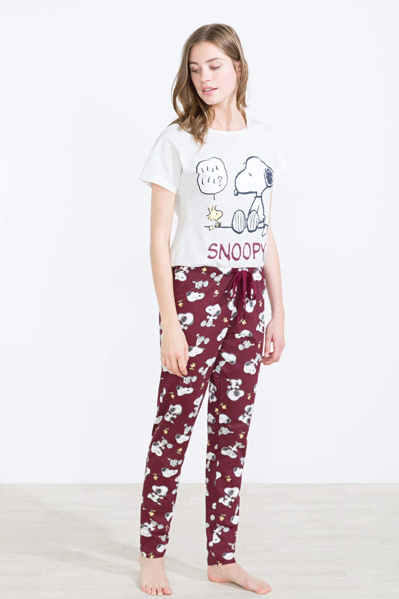Soft cotton pyjama set including a long sleeve t-shirt with Snoopy and  Woodstock graphic on the front 89766fdfb368