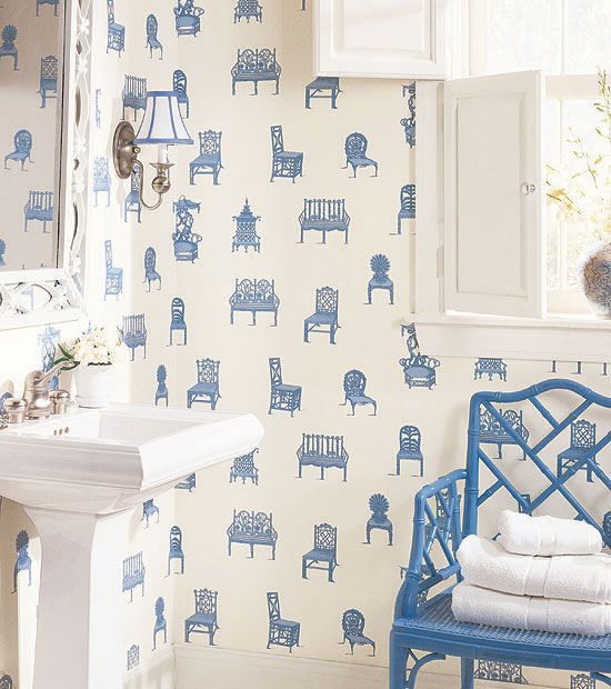Novelty prints are fun for bathrooms! http://lelandswallpaper.com  Thibaut's Chairs wallpaper in Blue from Barbados Collection.  Width 27 in, Repeat 25.25 in, available in 5 colors. $49.00 per single roll http://www.thibautdesign.com